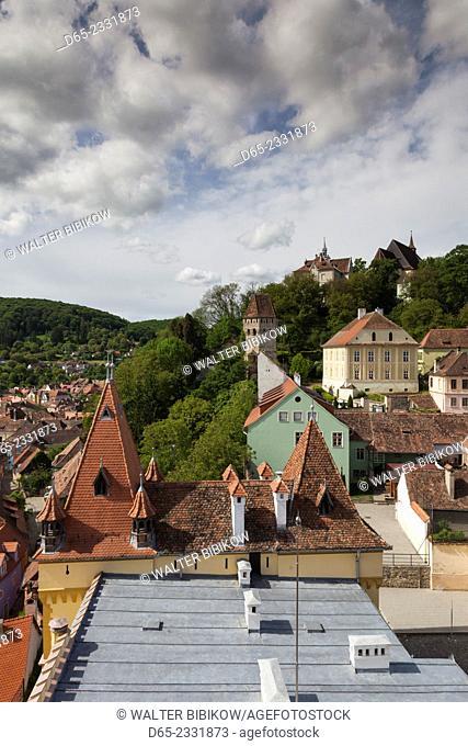 Romania, Transylvania, Sighisoara, elevated city view from Clock Tower