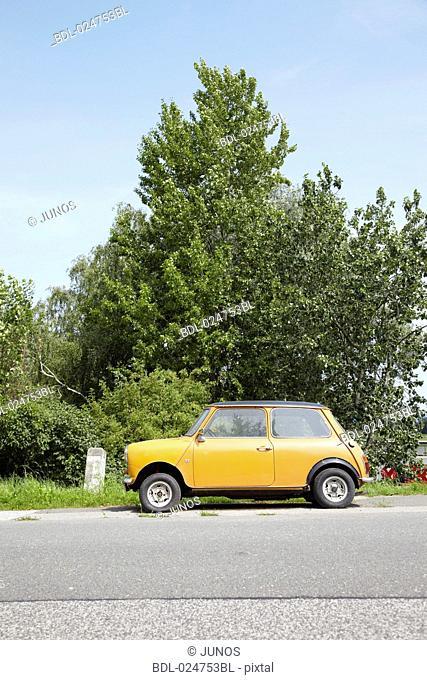 Mini Cooper standing on road