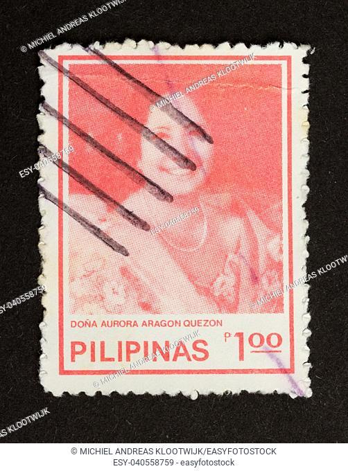 PHIPILINES - CIRCA 1980: Stamp printed in Philipines shows the head of Dona Aurora Aragon Quezon, circa 1980