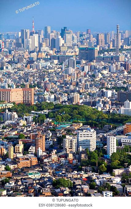 Tokyo, Japan - aerial view with Toshima, Bunkyo and Chiyoda wards