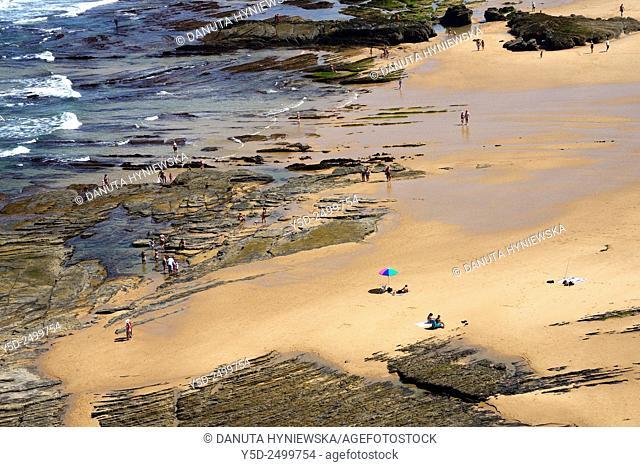 Europe, Portugal, Algarve, Faro district, Azjezur, Costa Vicentina, Monte Clérigo beach, Praia do Monte Clérigo
