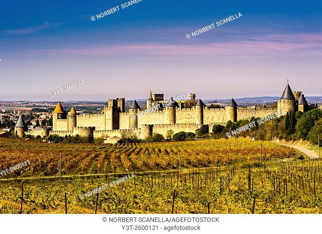 Europe. France. Languedoc-Roussillon. Aude. Carcassonne. La Cite. The medieval fortified town