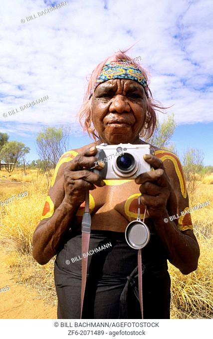 Rare Photograph of Aboriginal Grandmother in Paint with Camera in the Outback Australia