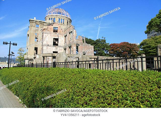 A Bomb dome, Hiroshima City, Japan  The Hiroshima Peace Memorial Genbaku Dome was the only structure left standing in the area where the first atomic bomb...
