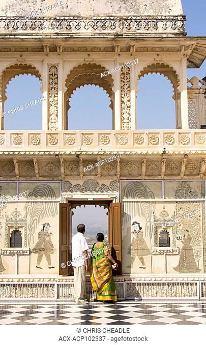 Visitors at at City Palace, Udaipur, Rajastan, India