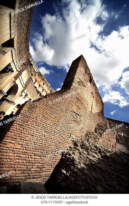 Bottom view of the Colosseum  Rome  Italy  Europe, Lazio