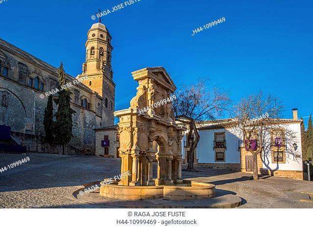Spain, Jaen province, Baeza City, world heritage, Santa Maria Fountain, Baeza Cathedral