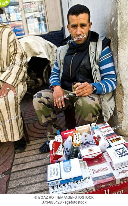 Selling cigarettes in downtown Casablanca, Morocco