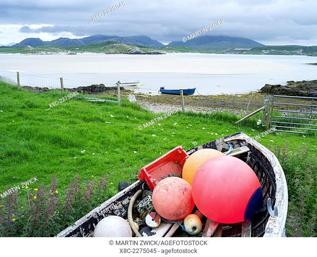 Isle of Lewis, part of the island Lewis and Harris in the Outer Hebrides of Scotland. The Uig Bay ( Traigh Uuige). Europe, Scotland, June