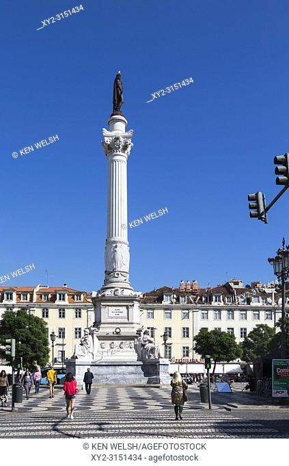 Lisbon, Portugal. Column bearing statue of Dom Pedro IV (also crowned Pedro I, Emperor of Brazil) in Praca Dom Pedro IV, commonly known as Rossio