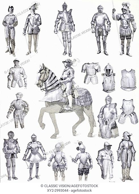 European suits of armour from the 16th, 17th and 18th centuries. From Enciclopedia Ilustrada Segui, published 1908