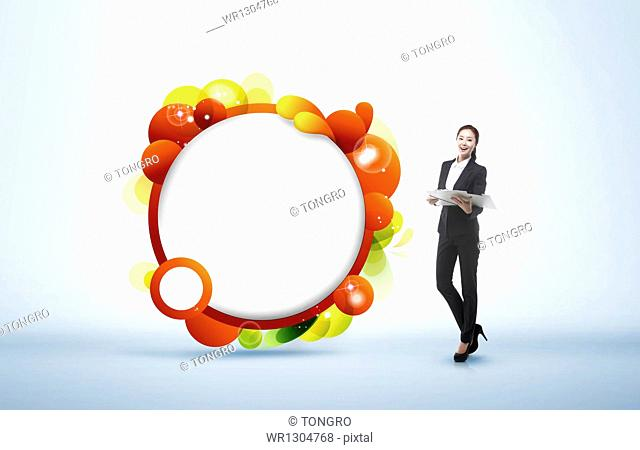 a business woman next to an illustrated circle