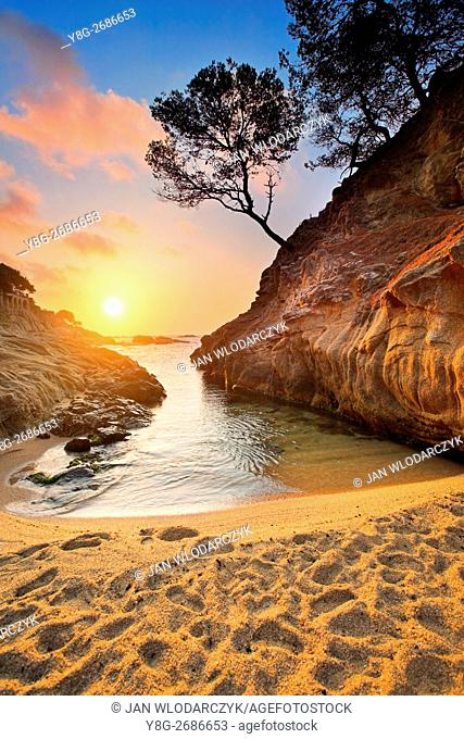 Sunrise at Costa bava beach, Spain