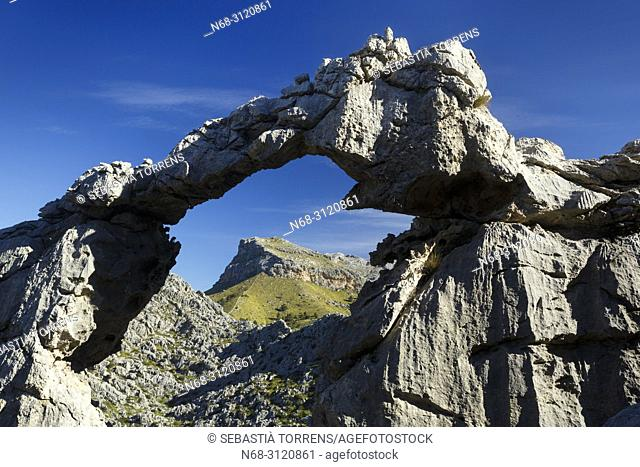 Stone arch at Serra de Tramuntana, Escorca, Majorca, Balearic Islands, Spain