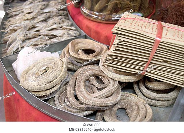 China, Taklamakan desert, Kashi,  Market, sale, lizards, snakes,  dried,  Asia, west China, remedies, alternative medicine, traditionally Chinese medicine, TCM