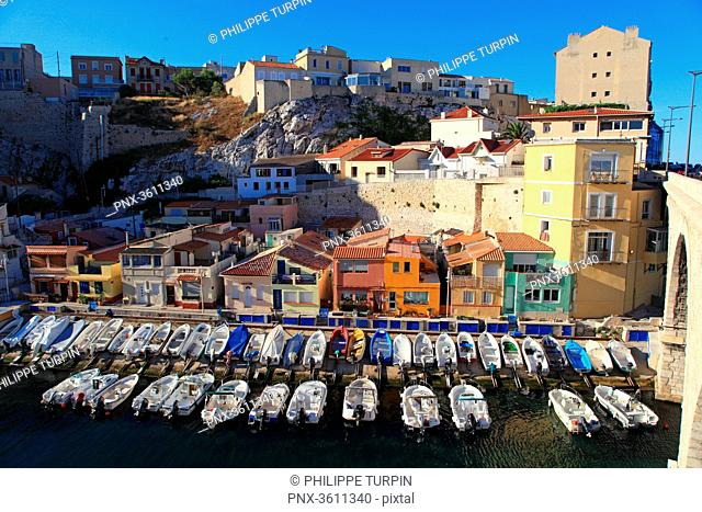 France, Bouches du Rhone, Marseille. Vallon des Auffes