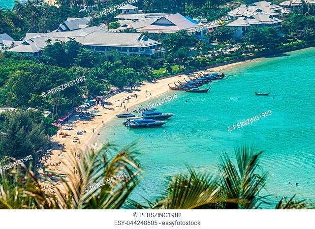 Travel vacation background - Phi-Phi island, Krabi Province, Thailand, Asia