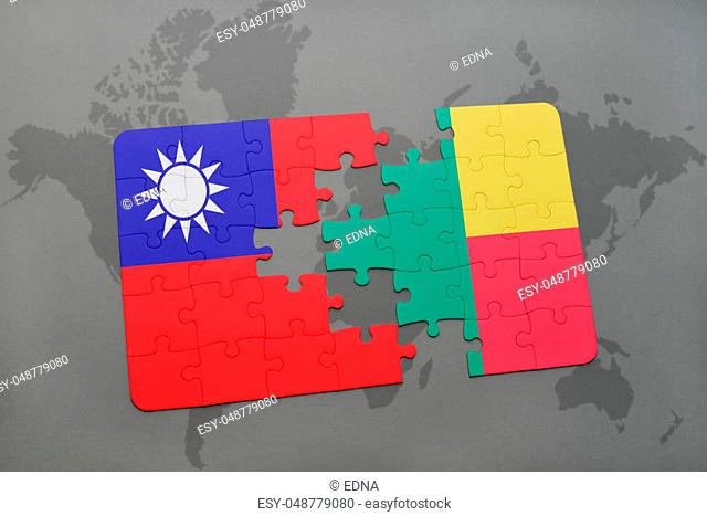 puzzle with the national flag of taiwan and benin on a world map background. 3D illustration