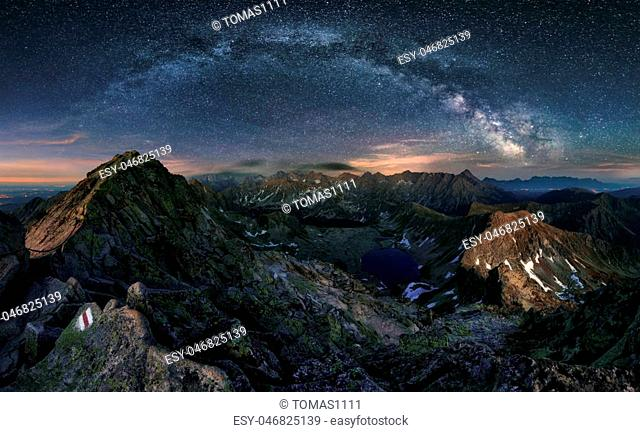 Milky way over Tatras mountain panorama, Poland