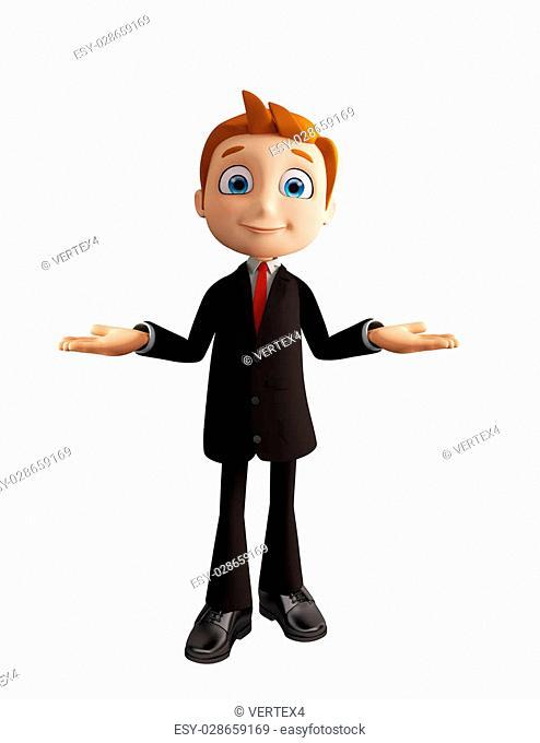 3d illustration of businessman with presentation pose