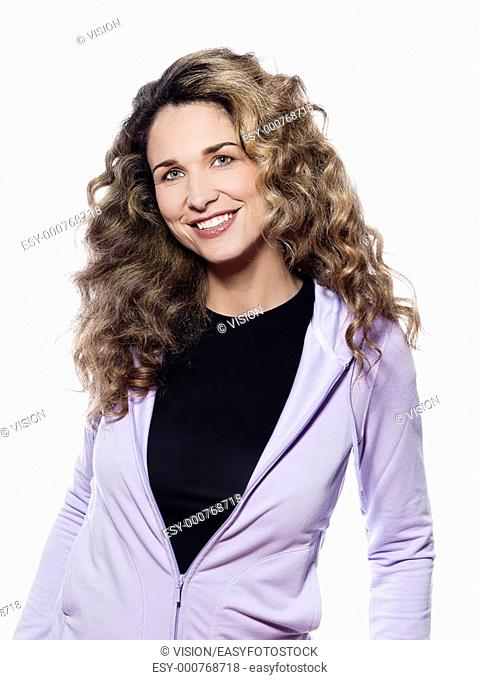 beautiful caucasian woman smiling happy portrait isolated studio on white background