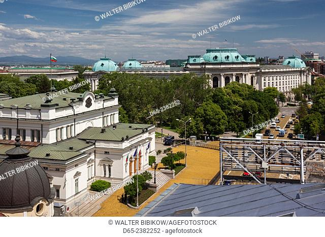 Bulgaria, Sofia, Ploshtad Narodno Sabranie Square, National Assembly and National Library buildings, elevated view