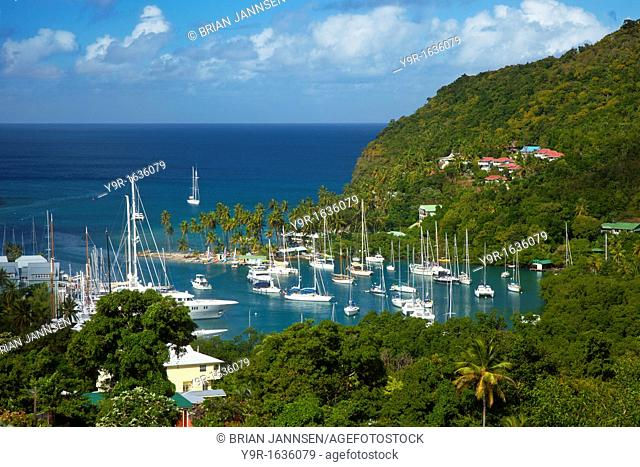 The tiny harbor of Marigot Bay on the west coast of St  Lucia, West Indies