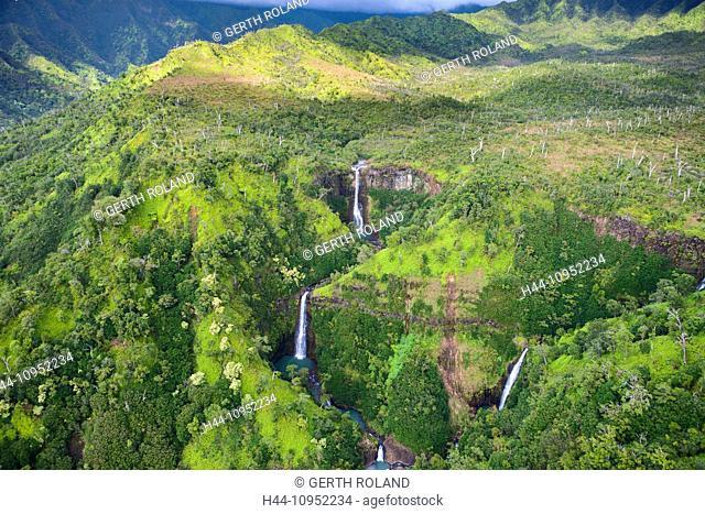Kahili Falls, Kahili, USA, United States, America, Hawaii, Kauai, inland, waterfalls, rain forest, aerial, view