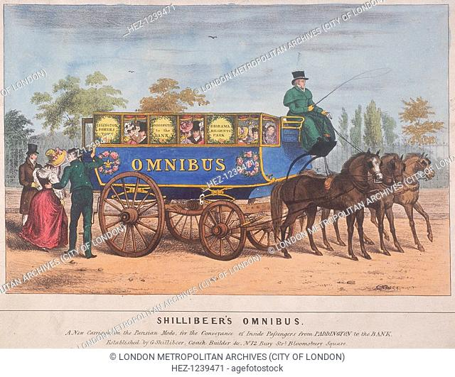 View of passengers using Shillibeer's omnibus, London, 1829. The omnibus ran from Paddington to Bank