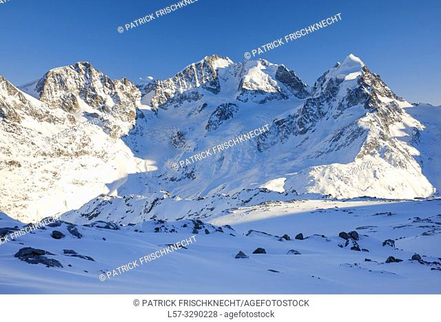 Piz Tschierva-3546 m, Piz Morteratsch - 3751 m, Piz Bernina-4049 m, Piz Roseg-3937 m, Graubuenden, Switzerland