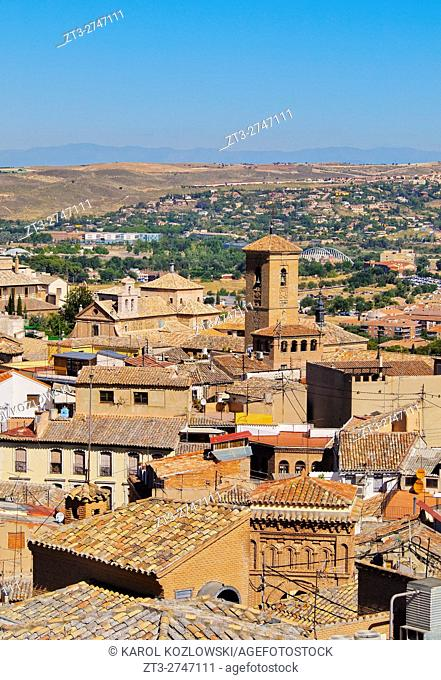 Spain, Castile La Mancha, Toledo, Elevated view of the Old Town.