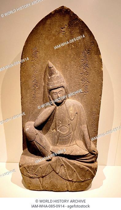 Funerary stele devoted to Bodhisattva Cintamanicakra Avalokitesvara. Dated 18th Century