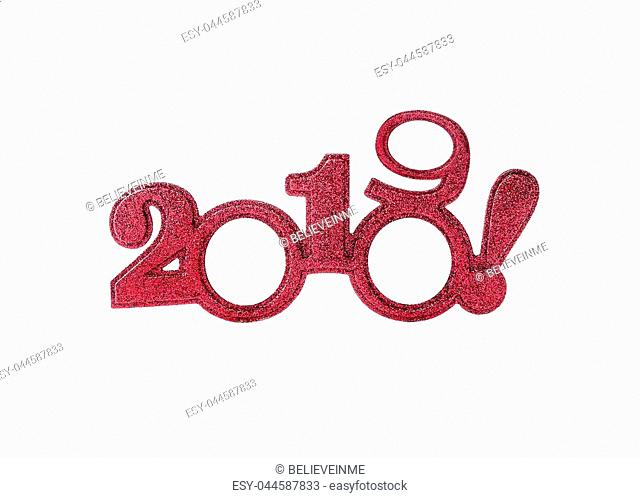Two thousand and nineteen. Happy New 2019 year in red tones isolated on white background