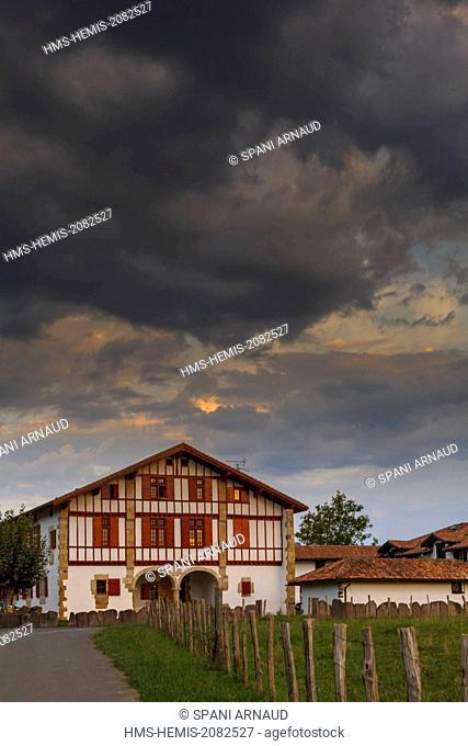France, Pyrenees Atlantiques, Basque Country, St Pee sur Nivelle, Cherchebruit, traditional Basque farmhouse at sunrise