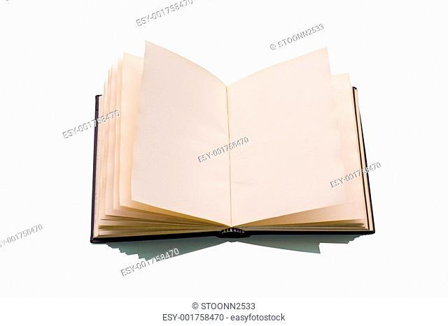 Open book over a white
