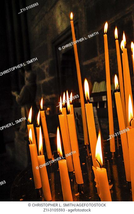 Candles keeping memories alive inside the Cathedral in Reims, France