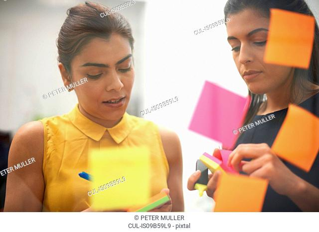 Two businesswomen writing on sticky notes for office glass wall