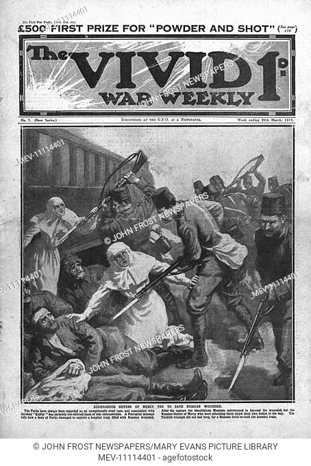 1915 front page Vivid War Weekly illustrating Turkish troops bayoneting Russian wounded