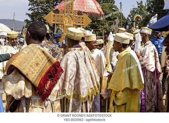 A Procession Of Ethiopian Orthodox Priests and Deacons Arrive At The Jan Meda Sportsgound To Celebrate Timkat (Epiphany), Addis Ababa, Ethiopia