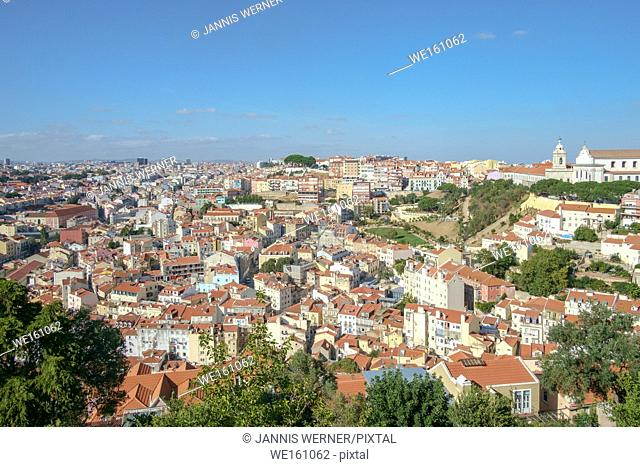 View from the Castelo de Sao Jorge over Lisbon, Portugal