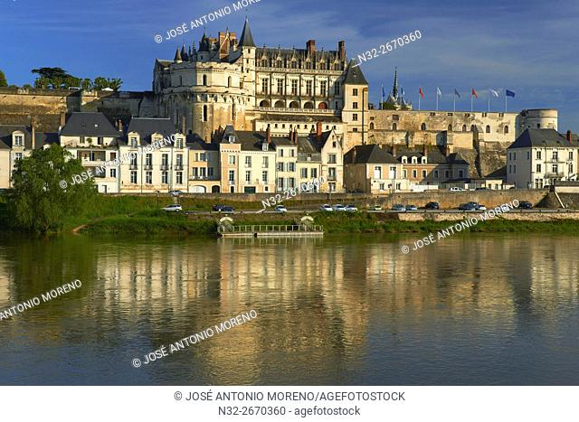 Amboise, Castle, Chateau de Amboise, Amboise Castle. Sunset, Indre et Loire, Loire Valley, Loire River, Val de Loire, UNESCO World Heritage Site, France