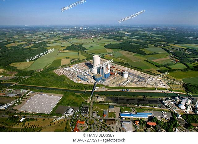 EON Datteln4 coal power station, construction freeze, boiler house, cooling tower, Dortmund-Ems-Kanal, Datteln, Ruhr area, North Rhine-Westphalia, Germany