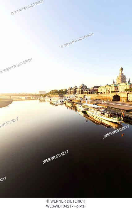 Germany, Dresden, Elbe river with Bruehl's Terrace and Academy of Fine Arts