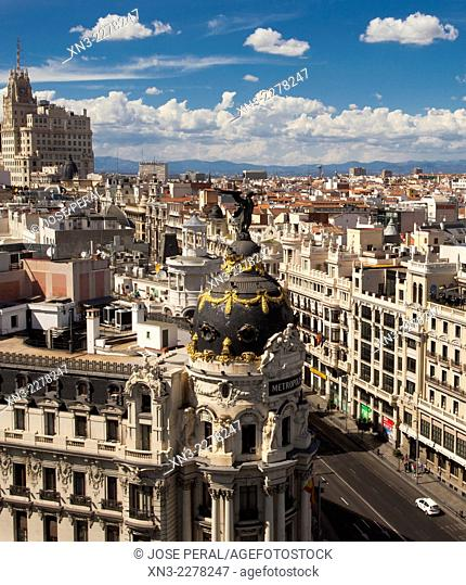 Gran Via and Metropolis building view from the roof of Círculo de Bellas Artes CBA, from Azotea del circulo, Madrid, Spain, Europe