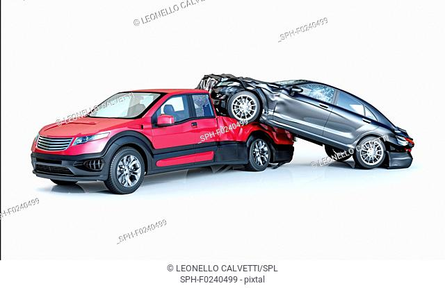 Two cars accident. Crashed cars. One black luxury sedan over a red pick up. Big damage. Isolated on white background. Viewed from a side
