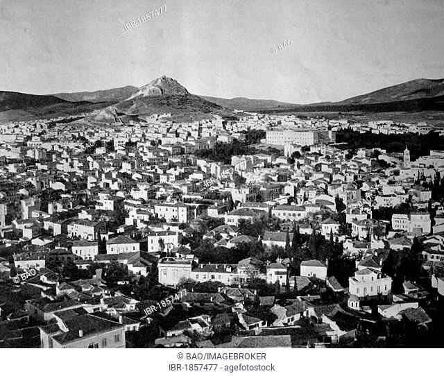 One of the first autotypes of Athens, seen from the Acropolis, Greece, historical photograph, 1884