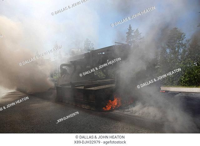 Finland, Southern Finland, Lahti, Highway E75, Road Making, Steamroller Sealing Bitumen