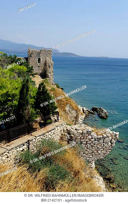 Logothetis Castle with Metamorphosis Church in the port city of Pythagorio, Samos Island, Aegean Sea, southern Sporades islands, Greece, Europe