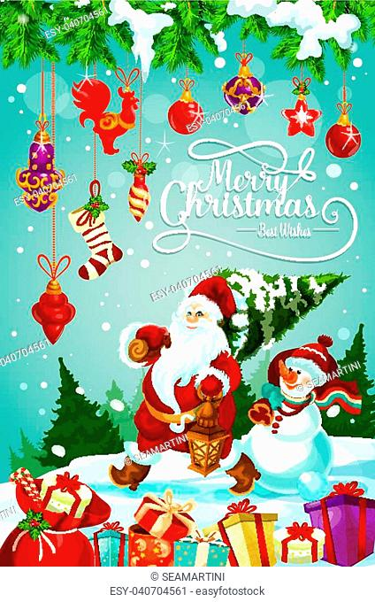 Merry Christmas greeting card design of Santa carry Christmas tree and snowman with New Year decorations. Vector gifts stockings on snow, golden ball