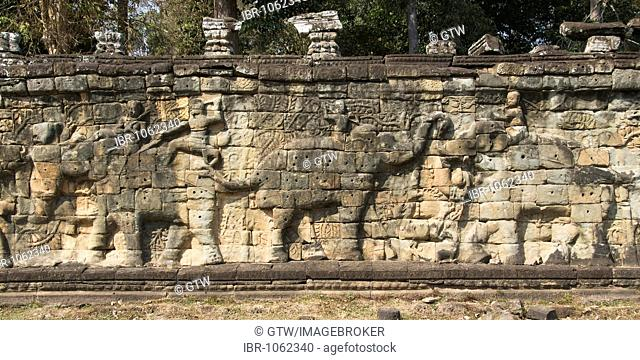 Terrace of the Elephants, Angkor Thom, UNESCO World Heritage Site, Siem Reap, Cambodia, Southeast Asia